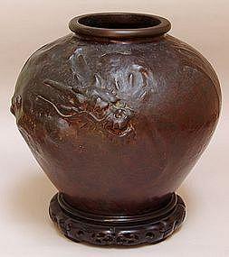 Antique Japanese Bronze Dragon Vase