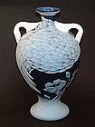 Modern Japanese Glass Vase, Cranes by Ruri Eiko