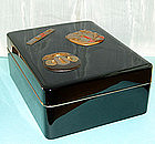 Antique Japanese Lacquer Box with Sword Parts, Zohiko