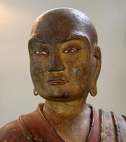 Antique Japanese wood Buddhist Figure, Rakan, 1711