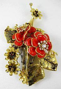 Unusual David Mandel Poured Glass Flower Pin & Earrings