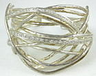 Unusual Sterling & CZ Wire Cuff Bracelet