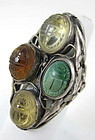 Egyptian Revival Sterling Citrine Turquoise Scarab Ring