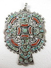Matl Mexican Silver Coral Turquoise Cross Pendant