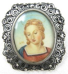 Lovely Raphael Madonna 800 Silver Ivory Portrait Pin