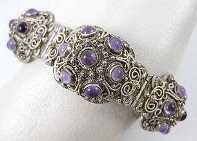 Chinese Export Silver Amethyst Filigree Bracelet