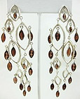 Stunning Sterling & Garnet Chandelier Earrings