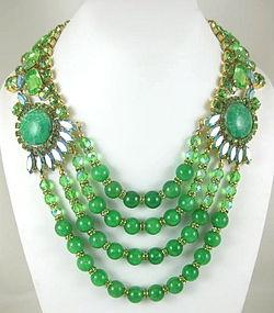 Stunning Alan Anderson Green Crystal Bib Necklace