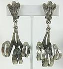 Unusual Silvertone Modernist Scroll Earrings