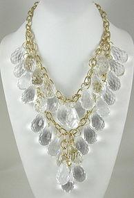 Amazing Kenneth Jay Lane Lucite Prism Bib Necklace