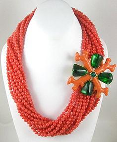 Stunning Kenneth Jay Lane Coral Torsade Necklace