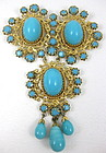 Beautiful Large Schreiner of New York Turquoise Pin