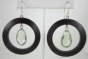 Wood Sterling and Rock Crystal Hoop Earrings