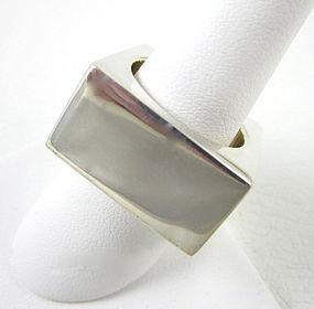 Sikara Heavy Sterling Modernist Square Ring