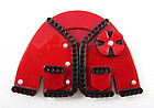 Precious Chanel-Style French Resin Red Jacket Pin