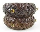 Beautiful Stephen Dweck Wood Sterling Citrine Bracelets
