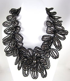Gorgeous Jet Hematite Glass Beaded Flower Necklace