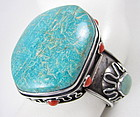 Amazing Fred Skaggs Modernist Turquoise Coral Bracelet