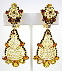 Robert Sorrell Pierce Cut Ivory Rhinestone Earrings