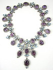Magnificent Sterling Amethyst Topaz Bib Necklace