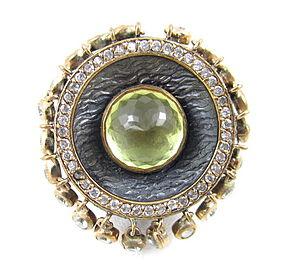 Dramatic Bora Sterling 14k Citrine Dangling Stone Ring