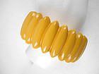 Radiant Scalloped Yellow Bakelite Bracelet