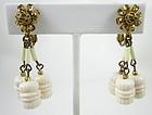 Lovely Miriam Haskell Ivory Bead Dangle Earrings