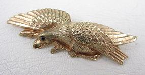Unusual Gold Fill Repousse Eagle Pin w/ Garnet Eye