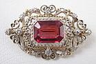 Rhodolite Garnet 14k Sterling Mine Cut Diamond Pin