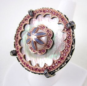 Gorgeous Sterling 14k Ruby Pearl Statement Ring