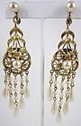 Grace Kelly Joseff of Hollywood Brass Pearl Earrings
