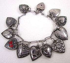 Vintage Sterling Silver 13 Charm Puffy Heart Bracelet