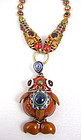Sterling Enamel Gemstone Dragon Goldfish Necklace