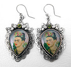 Lovely Barbosa Frida Kahlo Peridot Silvertone Earrings