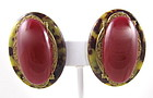 Beautiful Large Patrice Brass & Glass Clip Earrings