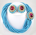 Stunning Ciner Turquoise & Ruby Necklace & Earrings