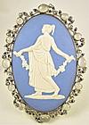 Gorgeous Sterling Moonstone Sapphire Jasperware Pendant