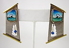 Falcher Fusager Magick Sterling 18K Cloisonne Earrings