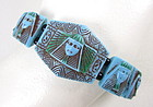 Unusual Turquoise Czech Glass Egyptian Revival Bracelet