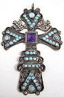 Matl Salas Sterling Turquoise Amethyst Cross Pendant
