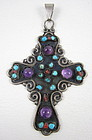 Matl Style Sterling Amethyst Turquoise Cross Pendant