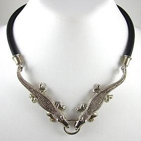 Sergio Bustamante Sterling & Leather Alligator Necklace