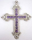 Amazing Large Sterling Amethyst and Pearl Cross Pendant
