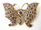 Darling Sterling Gold Vermeil and Ruby Butterfly Pin