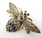 Adorable Sterling Gold Vermeil Sapphire Bee Pin