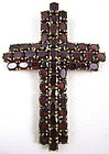Sterling Gold Vermeil Pave Garnet Cross Pendant