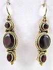 Sterling Gold Vermeil Garnet Dangling Earrings