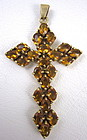 Lovely Sterling Gold Vermeil Citrine Cross Pendant