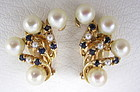 Classic 14k Pearl and Sapphire Cluster Earrings