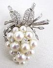 Gorgeous 18K Diamond & Pearl Grape Cluster Pin